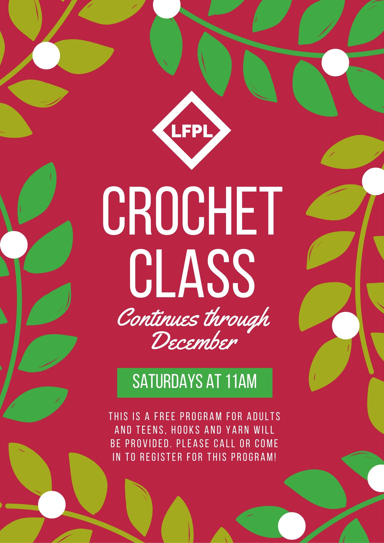 Beginner Crochet Class December The Little Falls Public Library