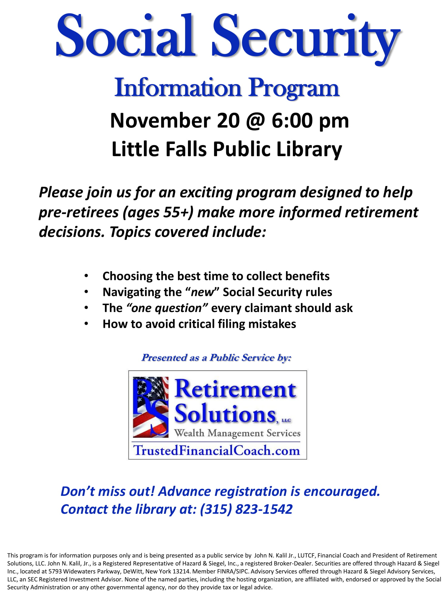 Social Security Information Program The Little Falls Public Library